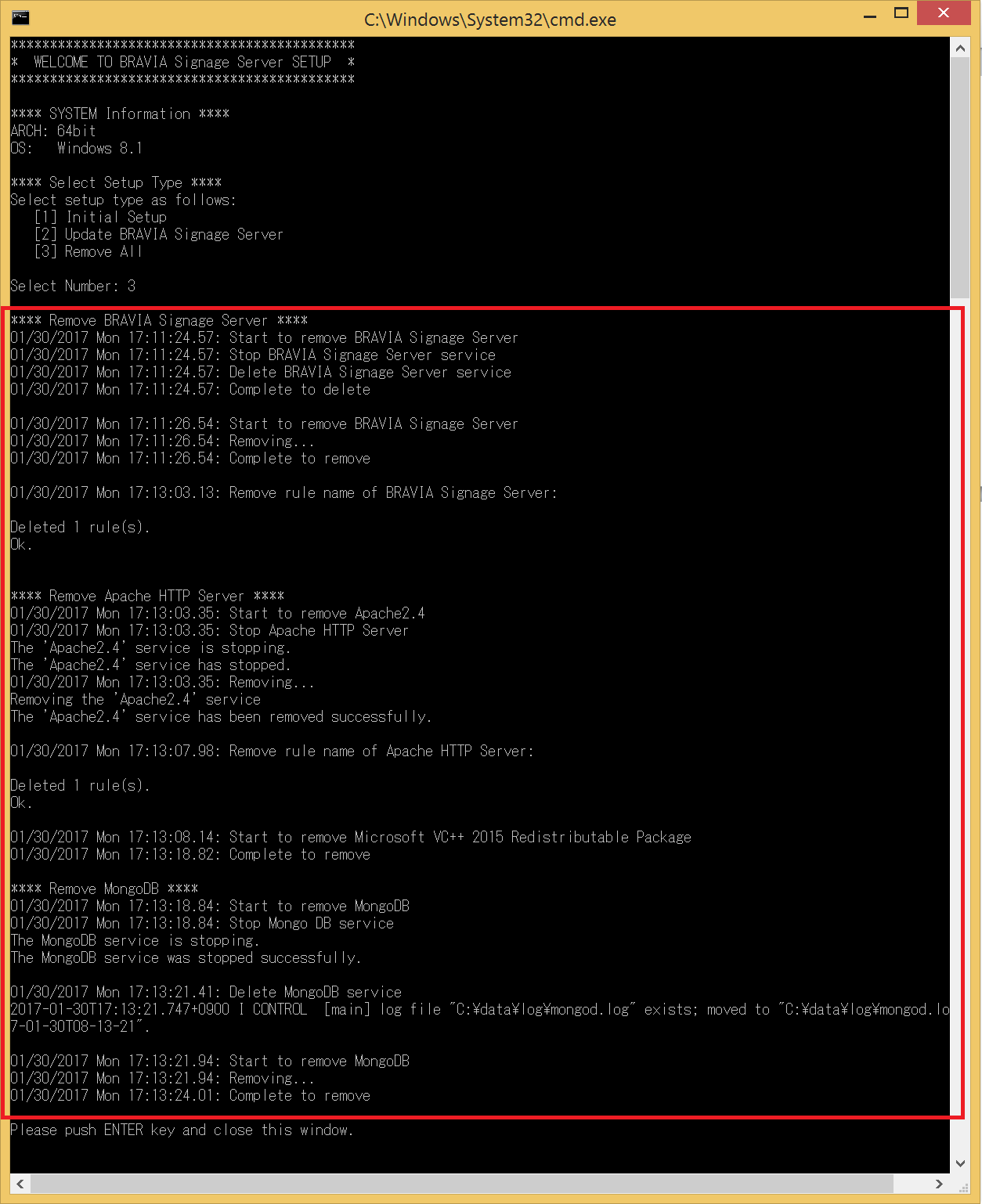 a screenshot of Command Prompt window for uninstallation