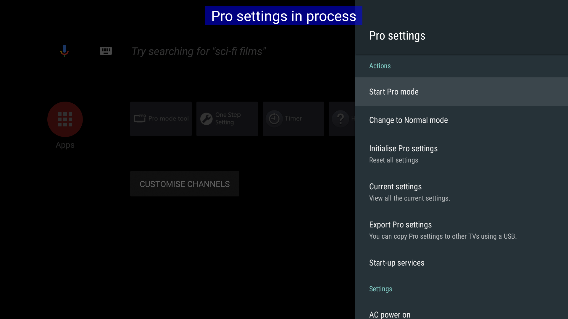 """Start Pro mode"" icon is shown in [Pro settings] ""Actions"" menu."